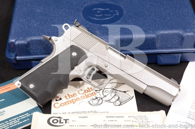 """Colt Series 80 MKIV Gold Cup National Match 45 ACP Stainless 5"""" Semi-Auto Pistol & Box 1994 ATF C&R"""