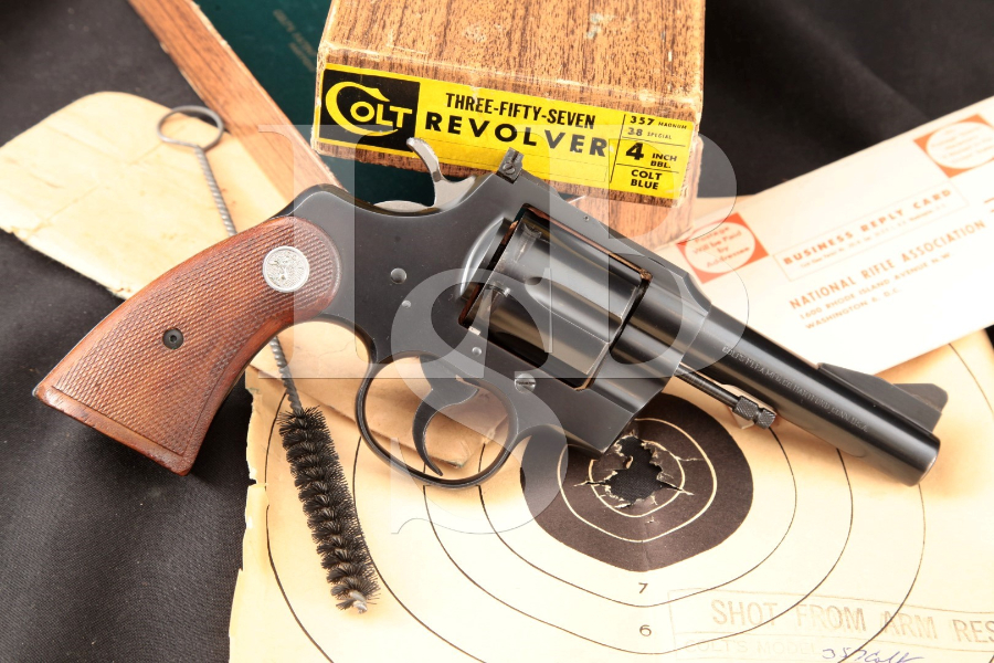 Colt Three-Fifty-Seven .357 Magnum, Blue 4 INCH Double Action Revolver, Box  & Paperwork, MFD 1960 C&R | Lock, Stock & Barrel