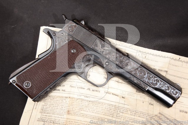 Colt WWII M1911A1 M1911-A1 Union Switch & Signal US&S Slide NRA Purchase Receipt & Engraved! 1943