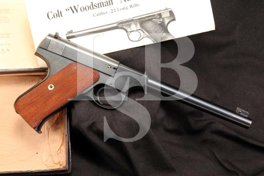 colt woodsman 1st series 22 lr target model semi auto pistol box mfd 1941 c r lock stock. Black Bedroom Furniture Sets. Home Design Ideas