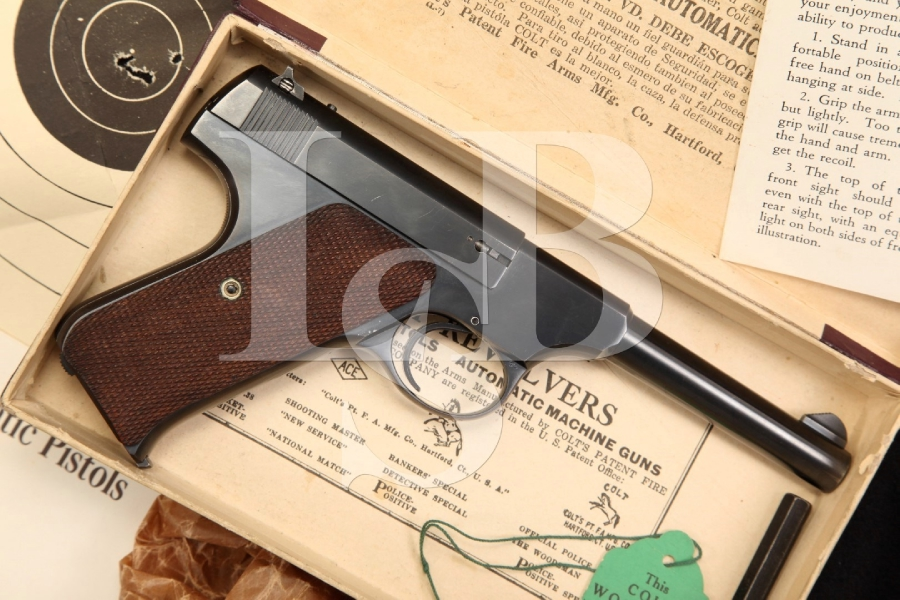 Colt Woodsman 1st Series 22 LR Sport Model Semi Auto Pistol & Box, MFD 1936 C&R