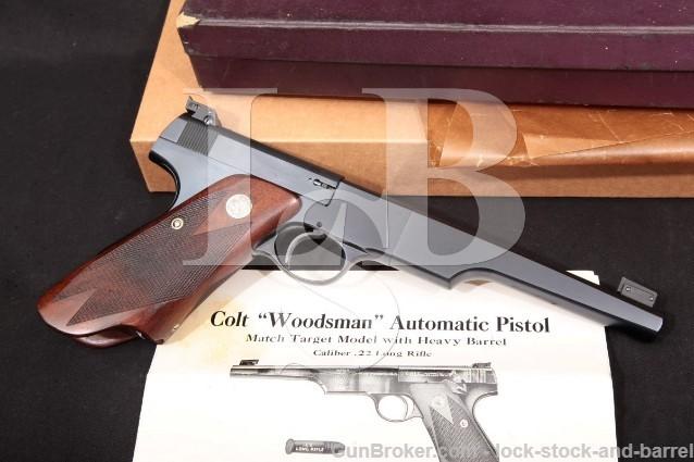 "Colt Woodsman Match Target 1st Series Bullseye 2nd Year 6 1/2"" Semi-Auto Pistol & Box 1939 C&R .22 LR"