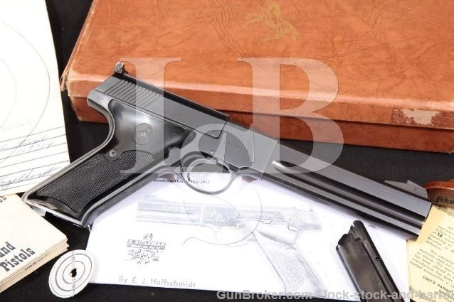 "Colt Woodsman Match Target 3rd Series, Blue 6"" Semi-Auto Target Pistol, Box & More 1956 C&R 22 LR"