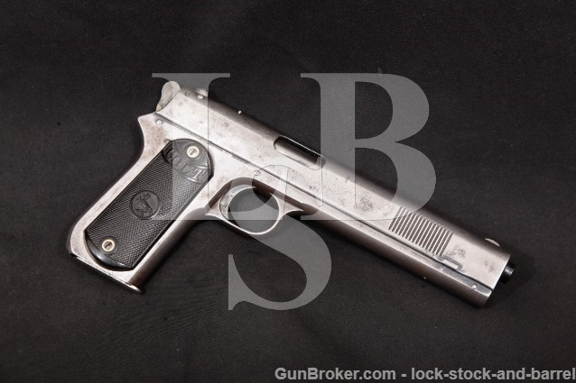 "Colt model 1900 Altered Sight Safety Round Hammer Blue 6"" Semi-Automatic Pistol MFD 1902 C&R .38 ACP"
