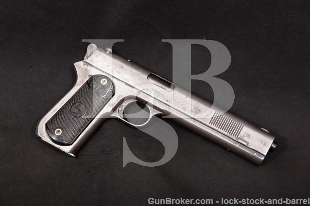 "Colt model 1900 Altered Sight Safety Round Hammer Blue 6"" Semi-Automatic Pistol MFD 1902 C&R .38 ACP"