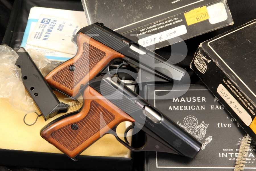 Consecutive Serial Number Pair 1/5000 American Eagle Edition Mauser HSC .380 Auto Semi Automatic Pistols & Boxes