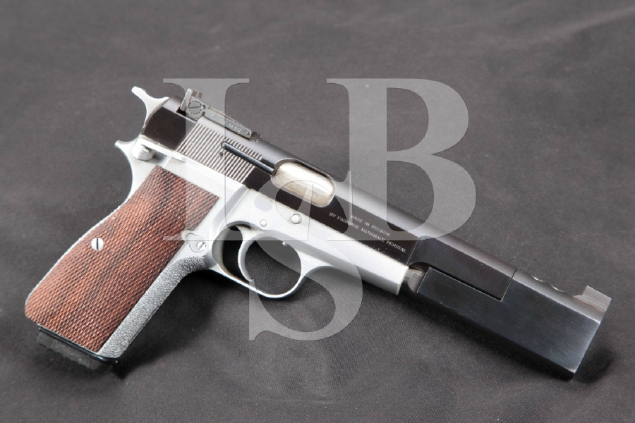 "Custom Browning Model Hi-Power, High Power, Duo Tone Blue & Hard Chrome Compensated 6 3/8"" Single Action, Semi-Automatic Pistol, MFD 1986"