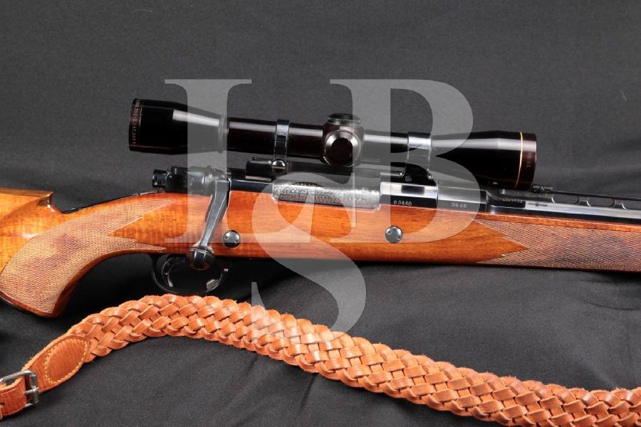 "Custom German Mauser, Flip Up Safari Sights, Blue Half Octagon Vent Rib 24"" Bolt Action Hunting Rifle& 6x Leupold Scope"