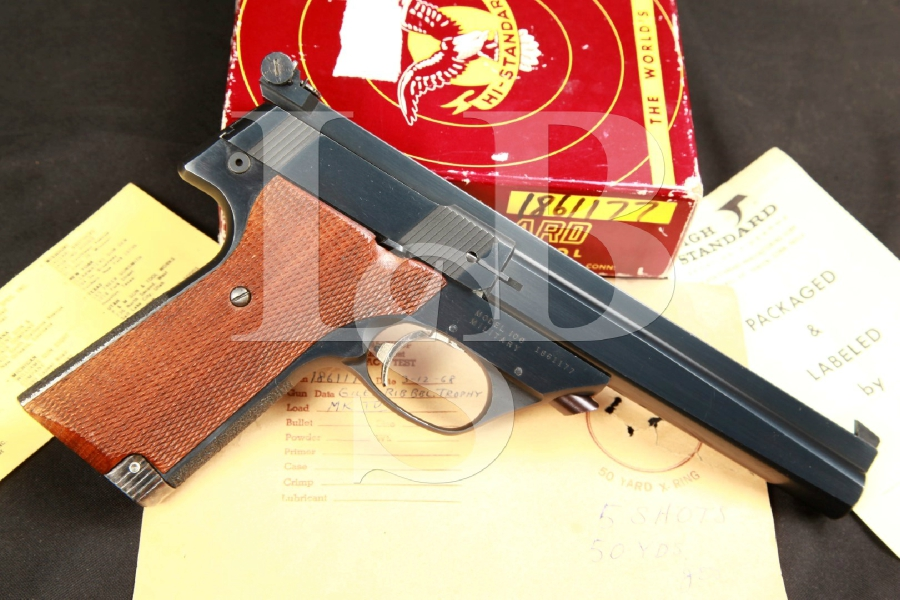 Custom John Giles High Standard Supermatic Trophy Series 106 Military .22 LR (Long Rifle) Semi-Automatic Target Pistol & Box w/ Test Target