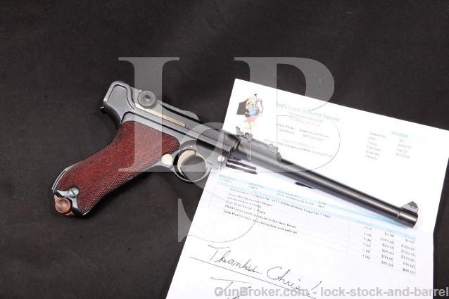 "DWM Artillery Luger 1914 WWI #s Matching Pistol Restored Blue 8"" Semi-Automatic, MFD 1917 C&R 9mm"