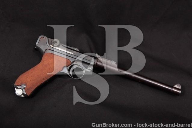 "DWM Luger WWI Model 1914 Artillery, 8"" 9mm C&R Blue German Military Semi-Auto Pistol, MFD 1917"