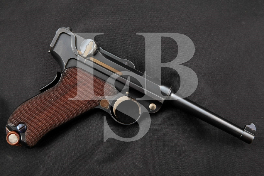 "DWM Model 1900 Swiss Military Contract Luger, Dished Toggles, V Rear Sight, Very Sharp Blue 4 3/4"" SA Semi-Automatic Pistol, MFD 1901-1902 C&R"