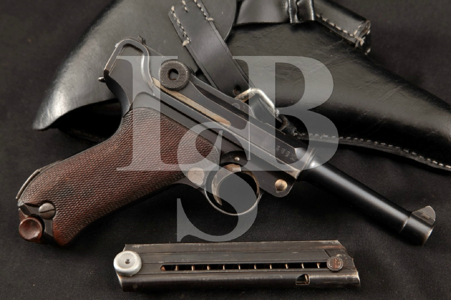 """DWM Model 1914 Military P.08 Luger, Export Marked, Blue 4"""" WWI Semi-Automatic Pistol & Holster, MFD 1916 C&R"""