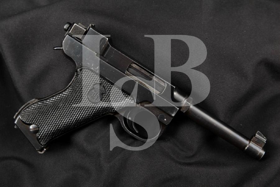 """Danish Marked Swedish Husqvarna Model M40 (M/40S) Lahti, Blue 4 3/4"""" RARE WWII SA Semi-Automatic Pistol, MFD 1944 C&R"""