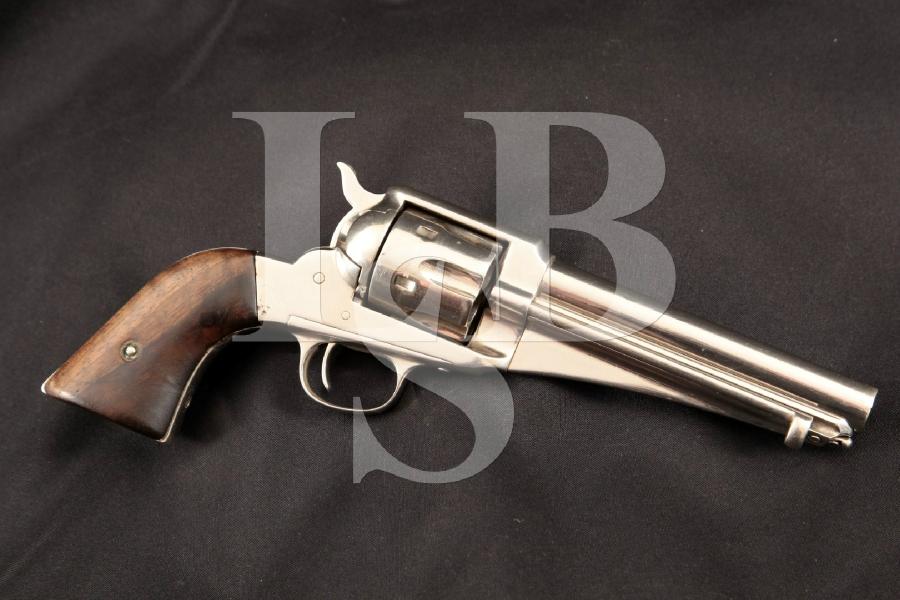 """E. Remington & Sons Model of 1875 S.A.A. SAA, Nickel 5 5/8"""" SA Single Action Revolver, MFD 1875-1889 Antique"""