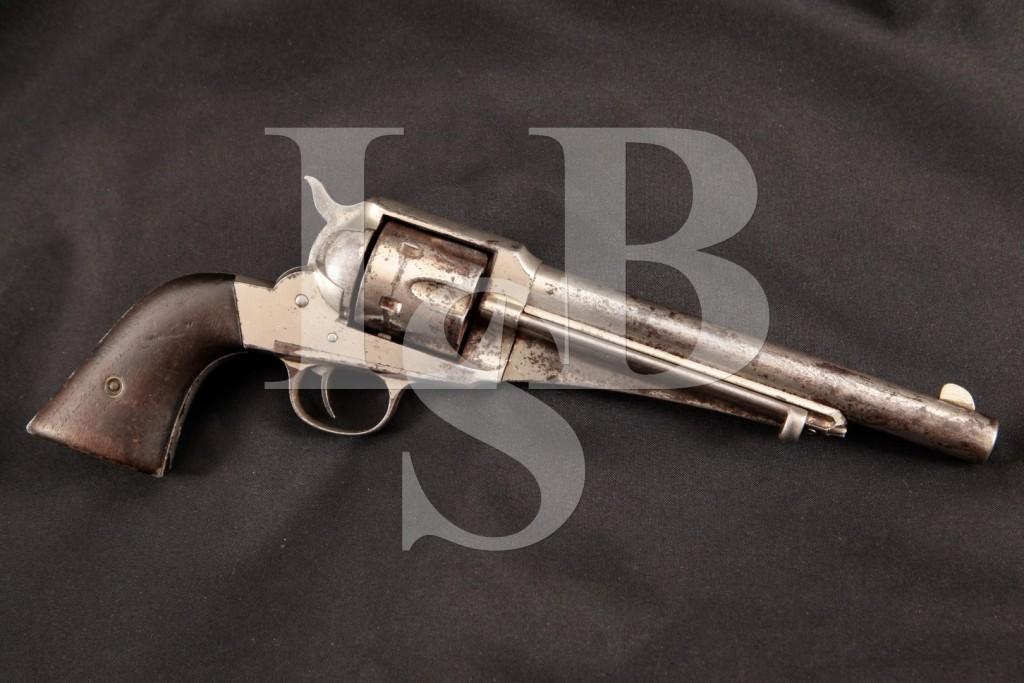 """E. Remington & Sons Model of 1875 S.A.A. SAA, Original Nickel 7 12"""" SA Single Action Revolver, MFD 1875-1889 Antique"""