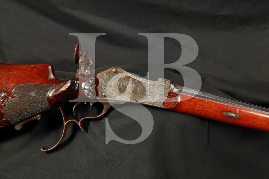EXQUISITE Engraved & Carved Miller & Val. Greiss Schuetzen Martini Falling Block, 27 ¾ Single Shot Rifle, Double Set Triggers, Antique – 4.5mm Flobert