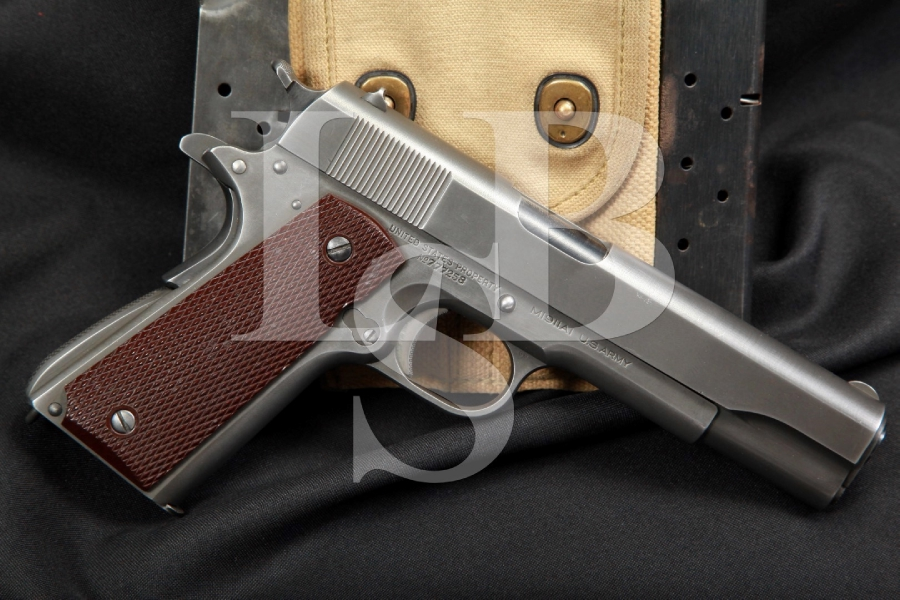 Early WWII Colt Model 1911A1 1911-A1 .45 ACP Pistol With Mags & Pouch, MFD May 1942, C&R