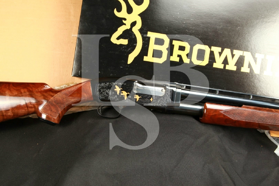 Engraved Browning Model 12 Grade 5 Modified Choke 25 3/4″ Takedown Pump/Slide Action Shotgun & Box, MFD 1990