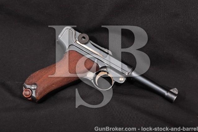 Erfurt WWI Luger P.08 Matching 9mm Pistol MFD 1911 Blue & Straw 4″ Semi-Automatic Military Pistol C&R