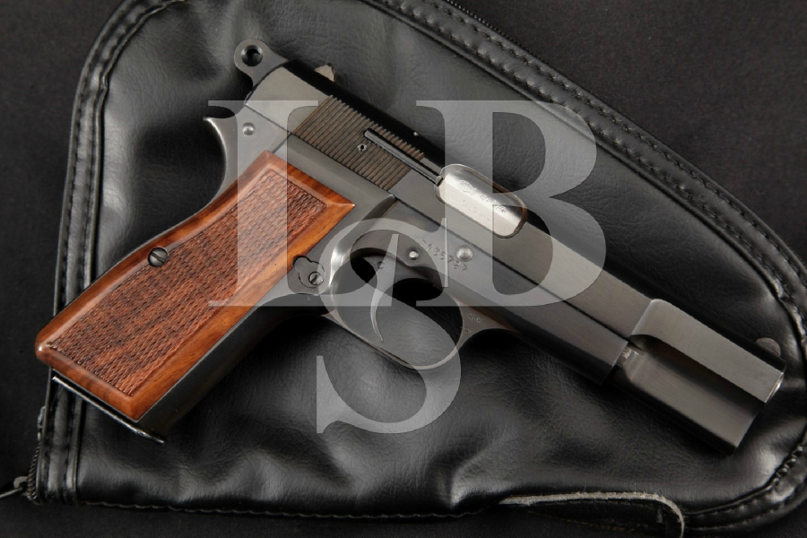 "FN Belgian Browning Model High Power Hi-Power P35, Very Sharp High Polish Blue 4 5/8"" SA Semi-Automatic Pistol & Pouch, MFD 1964 C&R"