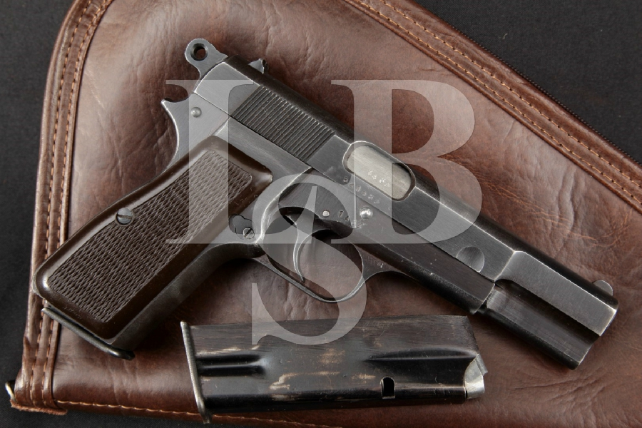 """Fabrique Nationale FN Model 1935 Browning Hi-Power P35, Fixed Sights, Blue 4 5/8"""" WWII Semi-Automatic Nazi Proof Pistol MFD 1944 C&R"""