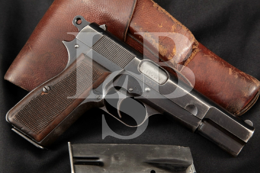 """Fabrique Nationale FN Model 1935 P35 P-35 Hi-Power Type III, Blue 4 5/8"""" Semi-Auto Pistol, 2 Mags & Holster, MFD 1942 C&R"""