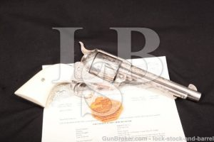 """Factory Engraved, .45 LC Colt Single Action Army 5 1/2"""" SAA Orange County CA Sheriff, Silver Plated"""