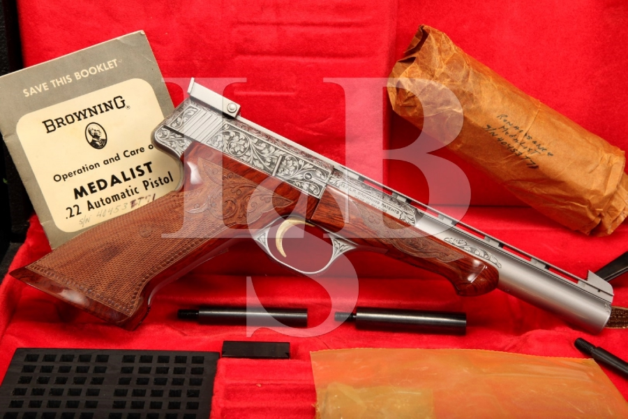 Factory Engraved Browning .22 LR Renaissance Medalist Target Pistol & Case, 1 of 382 Made