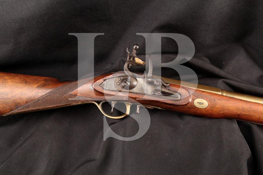 Flintlock Blunderbuss Boarding Pistol & Folding Bayonet, Brass 14 INCH Single Shot Black Power Rifle MFD Ca.1800 Antique