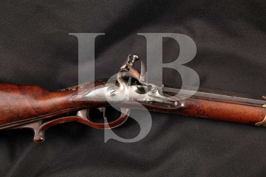 "Franz Seiffner of Weinn, Austria, Beautifully Crafted Jaeger Hunting Gun, Blue & Brass 32 ½"" Single Shot Flintlock Rifle, MFD 1700's Antique"