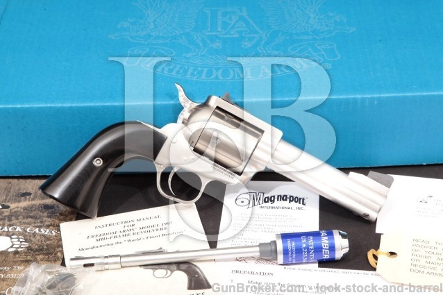"Freedom Arms 1997 Premier Grade Stainless, 4 1/4"" .44 Special, 44 SPL, Single Action Revolver & Box"