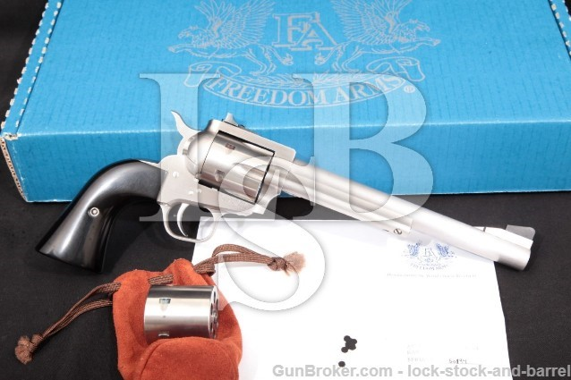 Freedom Arms 1997 Premier Grade Stainless 7 1/2″ Single Action Revolver, Box & Cyl., 2005 .327 Fed.