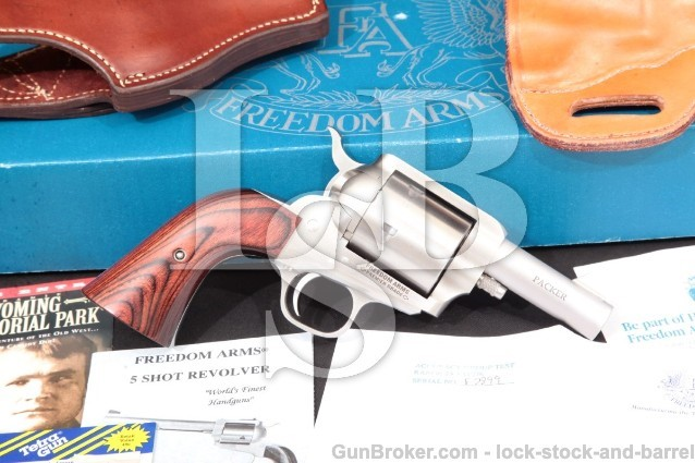 Freedom Arms 83 Premier Grade Packer .44 Magnum Stainless 3″ Single Action Revolver & Box, 1996
