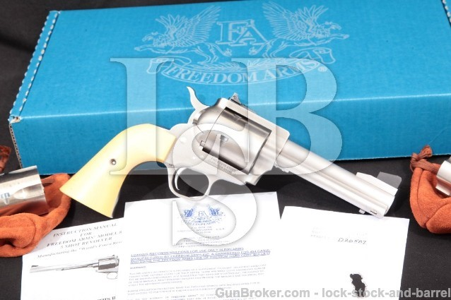 Freedom Arms 83 Premier Grade Stainless 4.75″ .454 Single Action Revolver & 3 Cylinders: 45 ACP, Colt