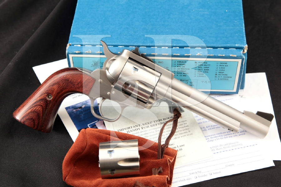 Freedom Arms FA Model 1997 97 Premier Grade, Bright Brushed Stainless 5 1/2 6-Shot, SA Revolver, 9mm Conversion Cylinder & Box
