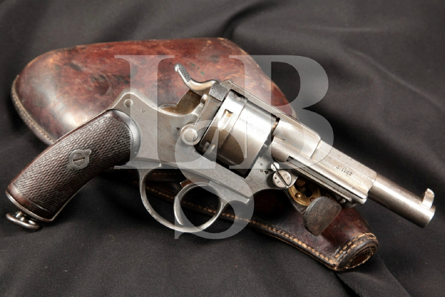 """French Mre. D'Armes St. Etienne Mle. Model 1873 M73, Bright Finish 4 1/2"""" Double Action Revolver & Holster, MFD 1882 Antique"""