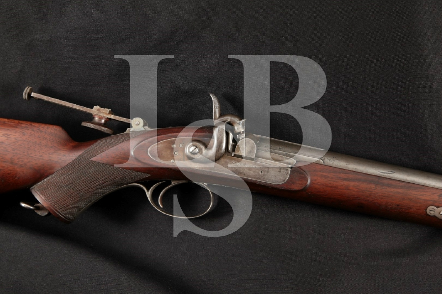 """George Gibbs of Bristol Metford Patent Sporting Model, Blue & Case Colored 32 5/8"""" Single Shot Percussion Rifle, MFD 1800's Antique"""