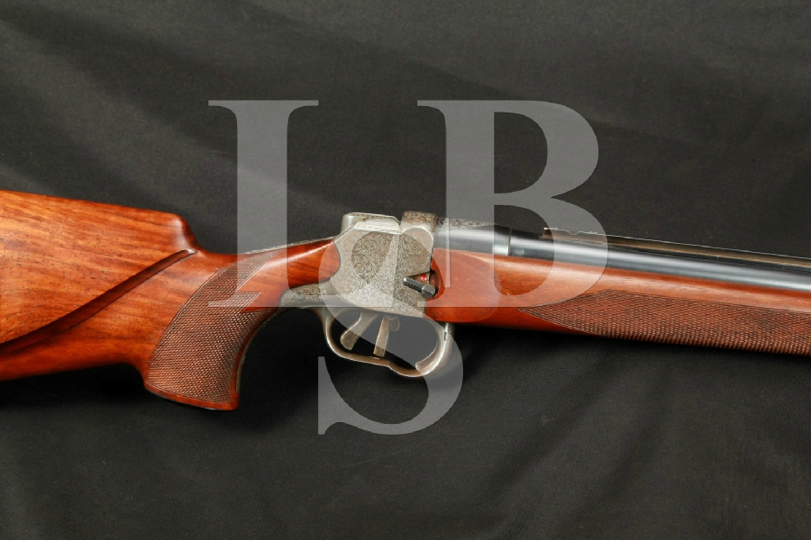 "German H&H Zehner Single Shot Rifle in LH Left Handed Stock & 25 ¾"" Barrel MFD 1958, Single Set Trigger, Engraved, C&R"