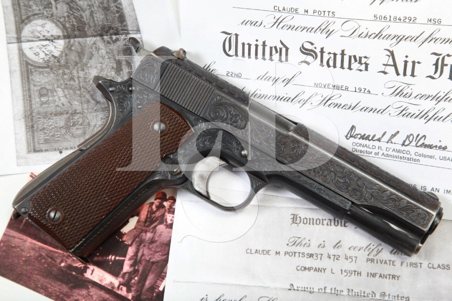 German Hand Engraved Colt Government Model 1911 WWII Bringback Semi-Automatic Pistol, MFD 1917 C&R