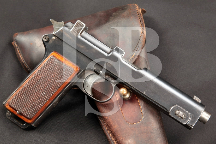 German Police & Nazi Marked WWI Steyr-Hahn Model 1912, 5 1/8″ Semi-Automatic Pistol & Holster, MFD 1914 C&R
