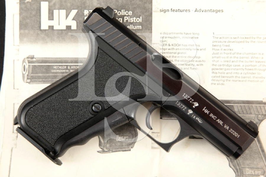 "Heckler & Koch H&K HK Model P7, 2nd Year, Blue 4.13"" SA Semi-Automatic Pistol & Paperwork, MFD 1980"