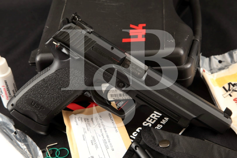 Heckler & Koch H&K HK Model USP45 U.S.P. 45 Elite, Hostile Environment Black Finish 6 DA Semi-Automatic Pistol, Case & More MFD 2007