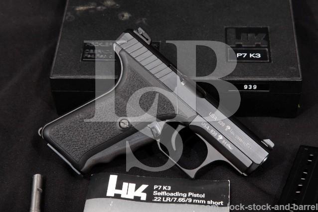 Heckler & Koch H&K HK P7K3 P7-K3 USA Sn .380 ACP Blue 3.8″ Squeeze Cock Semi Auto Pistol & Box 1987