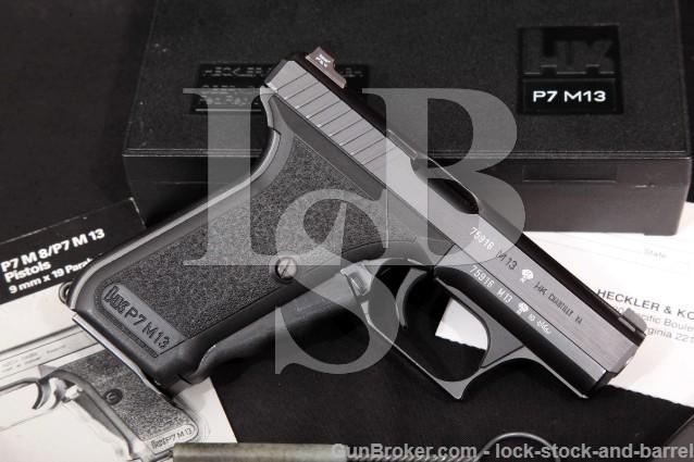 "Heckler & Koch HK H&K P7M13 P7-M13 4"" Squeeze Cock Semi-Automatic Pistol & Box 1986 9mm Luger"