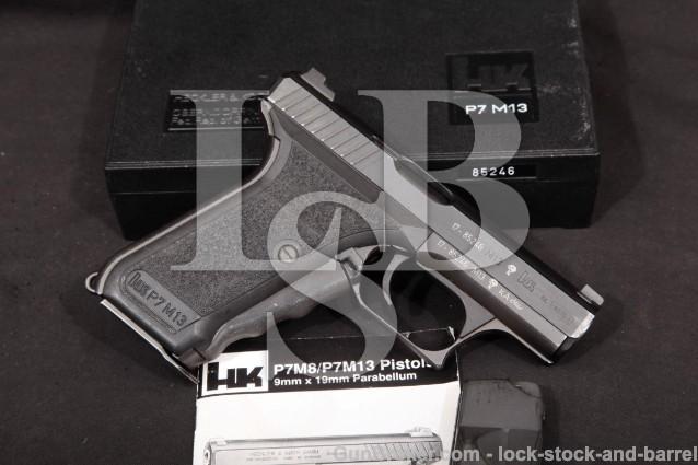 "Heckler & Koch HK H&K P7M13 P7-M13 4"" - No CA! Squeeze Cocker Semi-Auto Pistol & Box, MFD 1990"