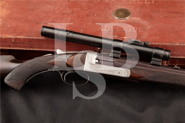 Holland & Holland Rook & Rabbit .295/300 Rifle Single Shot Royal Rifle, Scope & Case: MFD 1900's