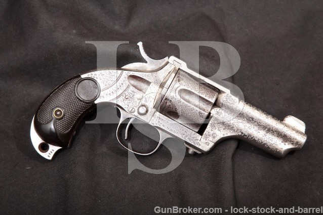"Hopkins & Allen Engraved Merwin Hulbert 3rd Model .44-40 Win Revolver Nickel 3 3/8"" 1883-92 Antique"