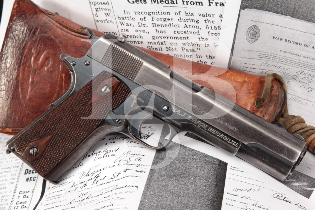 1914 Manufactured US Army Colt Model 1911, Inscribed to WWI & WWI Vet & Illinois Surgeon General B. Aron