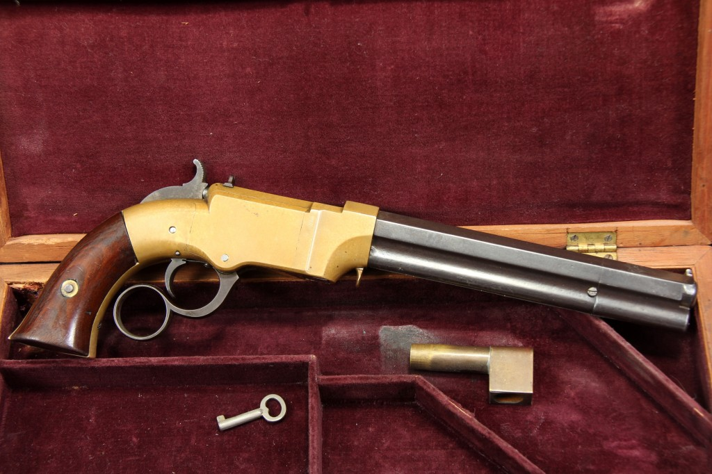"Cased 6"" .31 Caliber Volcanic Lever Action Pistol"